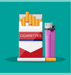 opened red cigarette pack vector image