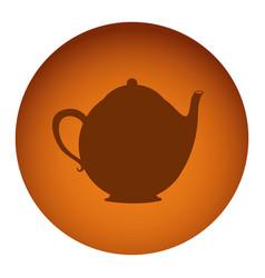 Orange emblem teapot icon vector