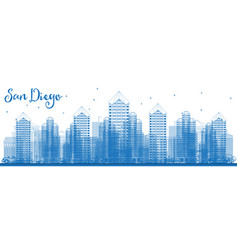Outline san diego california usa city skyline vector