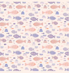 pastel tiny fish doodles vector image
