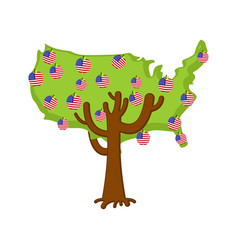 patriotic apple tree usa map apples america flag vector image
