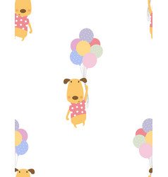 pattern dog with balloons vector image