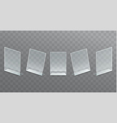 plastic desktop transparent advertising stand vector image