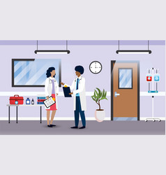 professional medical doctors in hospital vector image