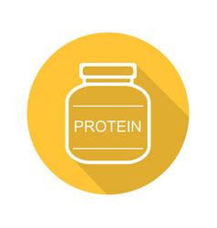 Protein powder jar flat linear long shadow icon vector