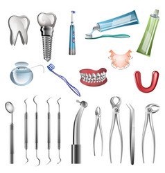 realistic dentist tools vector image