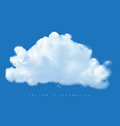 realistic white cloud on blue sky background vector image