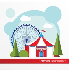 red and white circus tent icon in flat style vector image