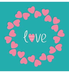 Round love frame with pink hearts Flat design styl vector image