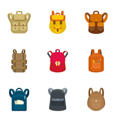 school backpack icon set flat style vector image