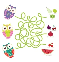 set bright colorful owls with fruits and berries vector image