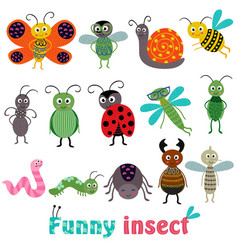 set isolated with funny insect vector image