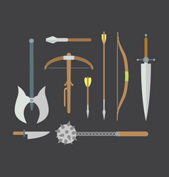 Set of different medieval weapons flat vector