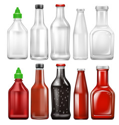 set sauce bottle vector image