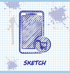 sketch line mobile phone and shopping cart icon vector image