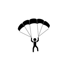 skydiver icon black on white background vector image