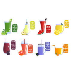 smoothie recipe icon set vector image
