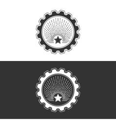 Star and Sunburst in Gear Design Element vector