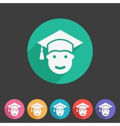 Student in graduation cap flat icon vector
