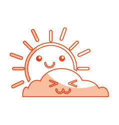 summer sun with cloud scene kawaii character vector image