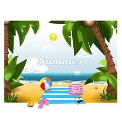 summer time on a beach under palm trees vector image