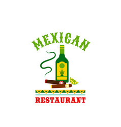 Tequila and cigar mexican restaurant icon vector