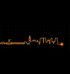 The hague light streak skyline vector