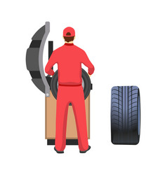tire production and repairment service mechanic vector image
