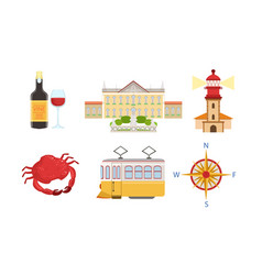 traditional portugal symbols set historical and vector image