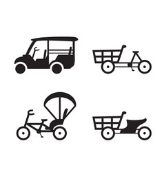 traditional vehicle icons in thailand vector image