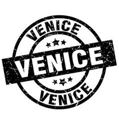 Venice black round grunge stamp vector