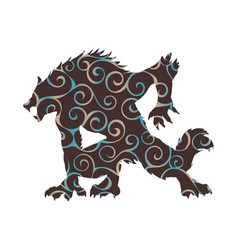 werewolf pattern silhouette ancient mythology vector image