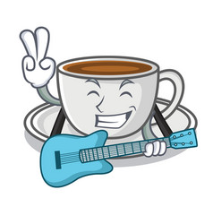 with guitar coffee character cartoon style vector image