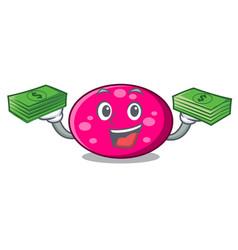 with money bag ellipse mascot cartoon style vector image