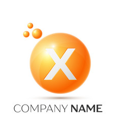 x letter splash orange dots and circle bubble vector image