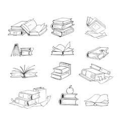 Doodle hand drawn sketch books set vector image