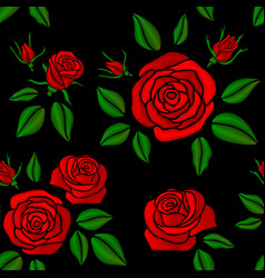 embroidered red rose flowers vintage vector image vector image