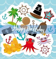 Happy Birthday Card pirate Cute party invitation vector image vector image