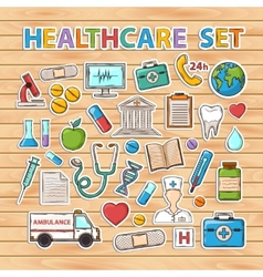 Healthcare doodle set vector image