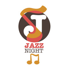 jazz night musical poster or icon template vector image