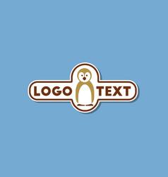 paper sticker on stylish background penguin logo vector image
