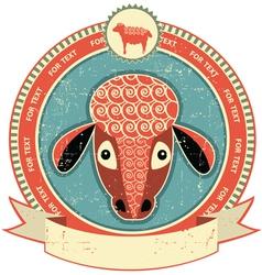 sheep head label vector image vector image