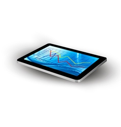 Tablet screen with graph vector image vector image
