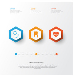 antibiotic icons set collection of dental device vector image vector image