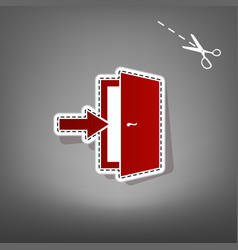 door exit sign red icon with for applique vector image