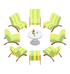 Isometric armchairs with wooden armrests and a vector image vector image
