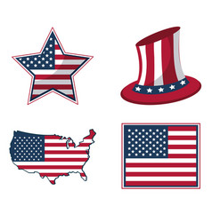 white background with united states flag in shape vector image