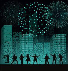 band show on night city background with fireshow vector image vector image