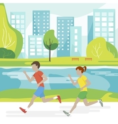 Couple Running in the Park vector image vector image
