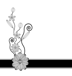 Floral background with black flowers vector image